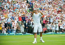 LONDON, ENGLAND - Monday, June 29, 2009: Roger Federer (SUI) celebrates during the Gentlemen's Singles 4th Round match on day seven of the Wimbledon Lawn Tennis Championships at the All England Lawn Tennis and Croquet Club. (Pic by David Rawcliffe/Propaganda)
