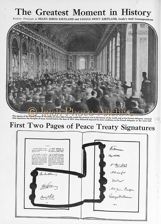 Dignitaries gathered in the Hall of Mirrors at Versailles to sign the peace treaty ending World War I, June 28, 1919. France Peace