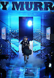 Andy Murray walks out for his match against Marin Cilic during day two of the Barclays ATP World Tour Finals at The O2, London.