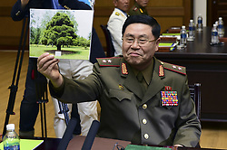 June 14, 2018 - Panmungak, North Korea - North Korean and South Korean Military delegates meet with talk during a Inter-Korean Military talk at Panmungak, North Korea. South and North Korea are holding their first high-level military talks in more than 10 years Thursday to discuss ways to ease cross-border tensions. The meeting started at 10 a.m. on the northern side of the truce village of Panmunjom, according to Seoul's defense ministry. These were the first such talks since the two sides met in December 2007.  South Korea's five-member delegation is led by Major General Kim Do-gyun. The North's delegation is led by Lieutenant General An Ik-san, who is accompanied by four other officials. (Credit Image: © Ryu Seung-Il via ZUMA Wire)