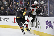 LAS VEGAS, NV - MARCH 02:  skates against the Ottawa Senators during the game at T-Mobile Arena on March 2, 2018 in Las Vegas, Nevada.  (Photo by Jeff Bottari/NHLI via Getty Images)