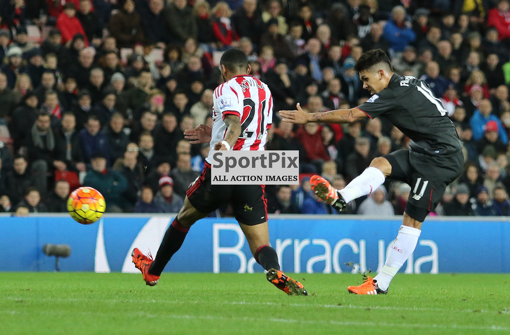 Roberto Firmino shot hits off the post during the Sunderland FC v Liverpool FC English Premier League 30th March 2015...©Edward Linton | SportPix.org.uk