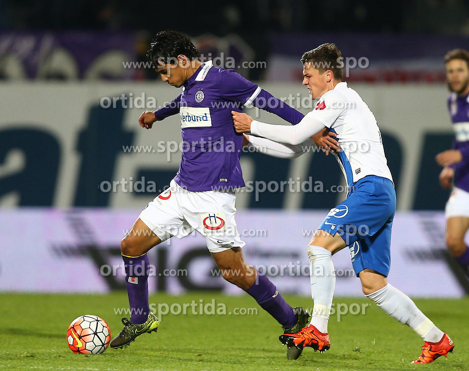 17.10.2015, Generali Arena, Wien, AUT, 1. FBL, FK Austria Wien vs SV Groedig, 12. Runde, im Bild Roi Kehat (FK Austria Wien) und Martin Rasner (SV Groedig) // during Austrian Football Bundesliga Match, 12th Round, between FK Austria Vienna and SV Groedig at the Generali Arena, Vienna, Austria on 2015/10/17. EXPA Pictures © 2015, PhotoCredit: EXPA/ Thomas Haumer