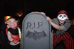 Children dressed up for Hallowe'en UK