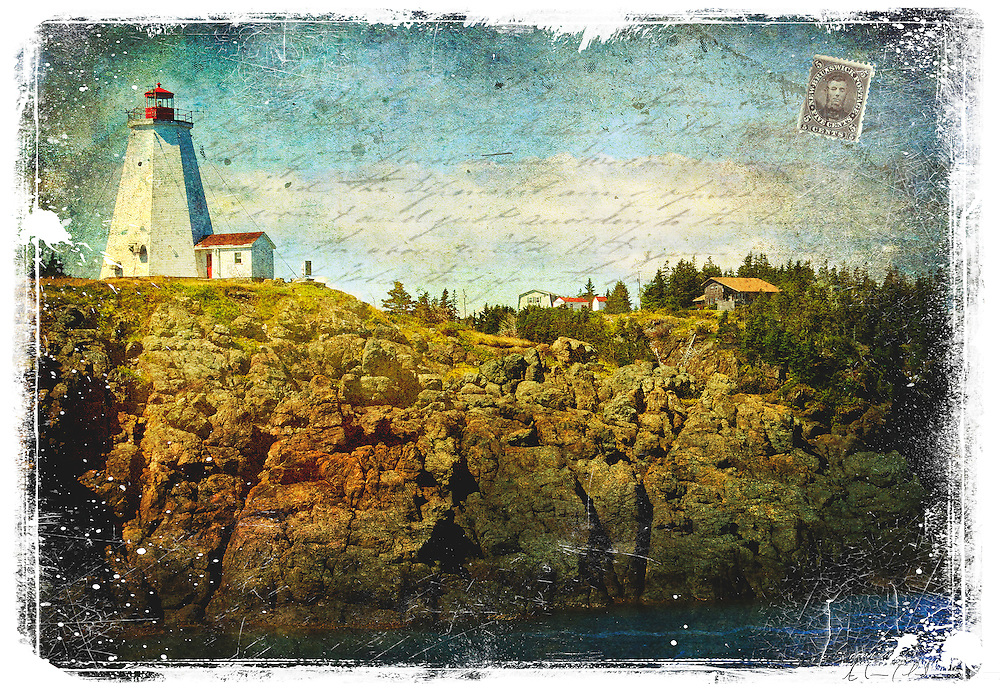 Grand Manan Island, New Brunswick, Canada - Forgotten Postcard digital art collage