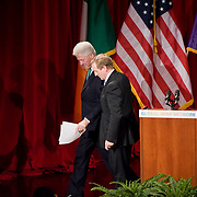 February 9, 2012 - New York, NY :.Taoiseach (Irish Prime Minister) Enda Kenny, right, and former U.S. President Bill Clinton, left, exit the stage together after speaking at an Invest in Ireland Forum at New York University on Thursday morning, Feb. 9, 2012..CREDIT: Karsten Moran for The Irish Independent