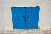 Typical blue local door; Tunis; Tunisia