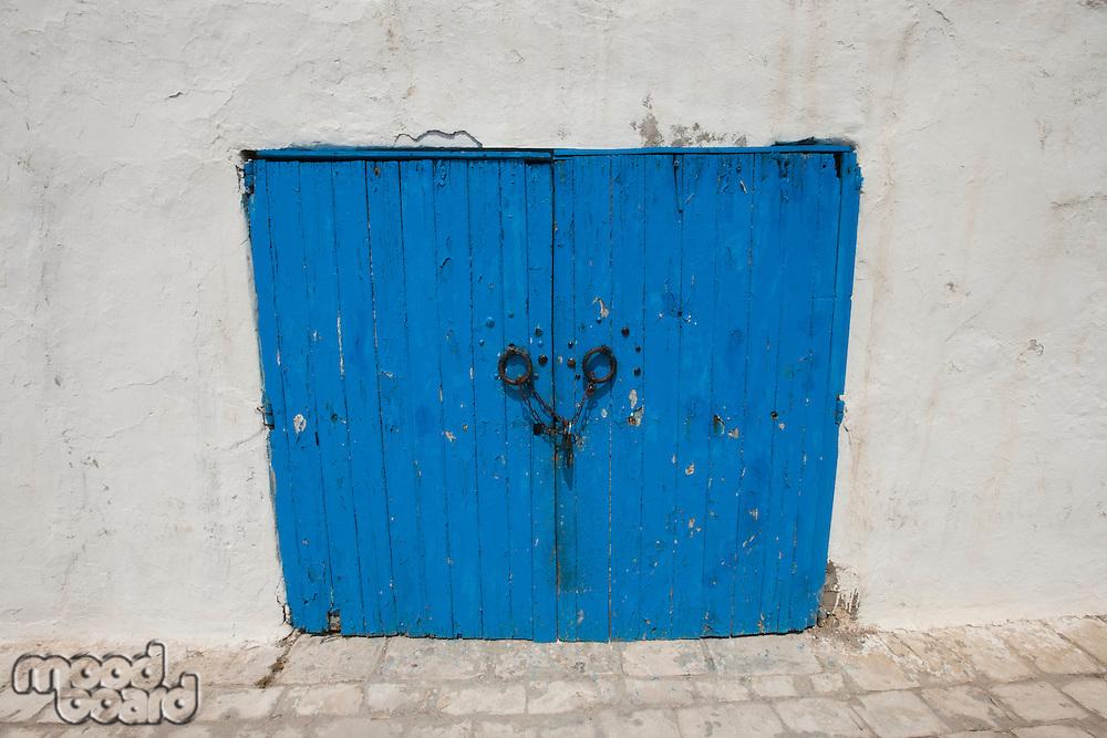 Typical blue local door; Tunis; Tunisia