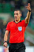Referee Javier Estrada Fernandez during the Europa League group stage match between Celtic and RP Leipzig at Celtic Park, Glasgow, Scotland on 8 November 2018.
