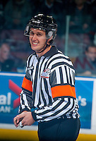 KELOWNA, CANADA - OCTOBER 14: WHL referee, Kevin Bennett, stands on the ice at the Kelowna Rockets against the Saskatoon Blades on October 14, 2016 at Prospera Place in Kelowna, British Columbia, Canada.  (Photo by Marissa Baecker/Shoot the Breeze)  *** Local Caption *** Kevin Bennett;