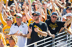 Sep 3, 2016; Morgantown, WV, USA; Missouri Tigers fans cheer before their game against the West Virginia Mountaineers at Milan Puskar Stadium. Mandatory Credit: Ben Queen-USA TODAY Sports