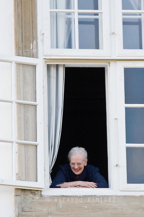 16.04.2015. Copenhagen, Denmark.<br /> Queen Margrethe II Morning greetings at Fredensborg Castle on the 75th Birthday of Queen Margrethe of Denmark.<br /> Photo:© Ricardo Ramirez