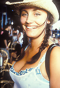 Smiling girl in straw hat, Ibiza 1998