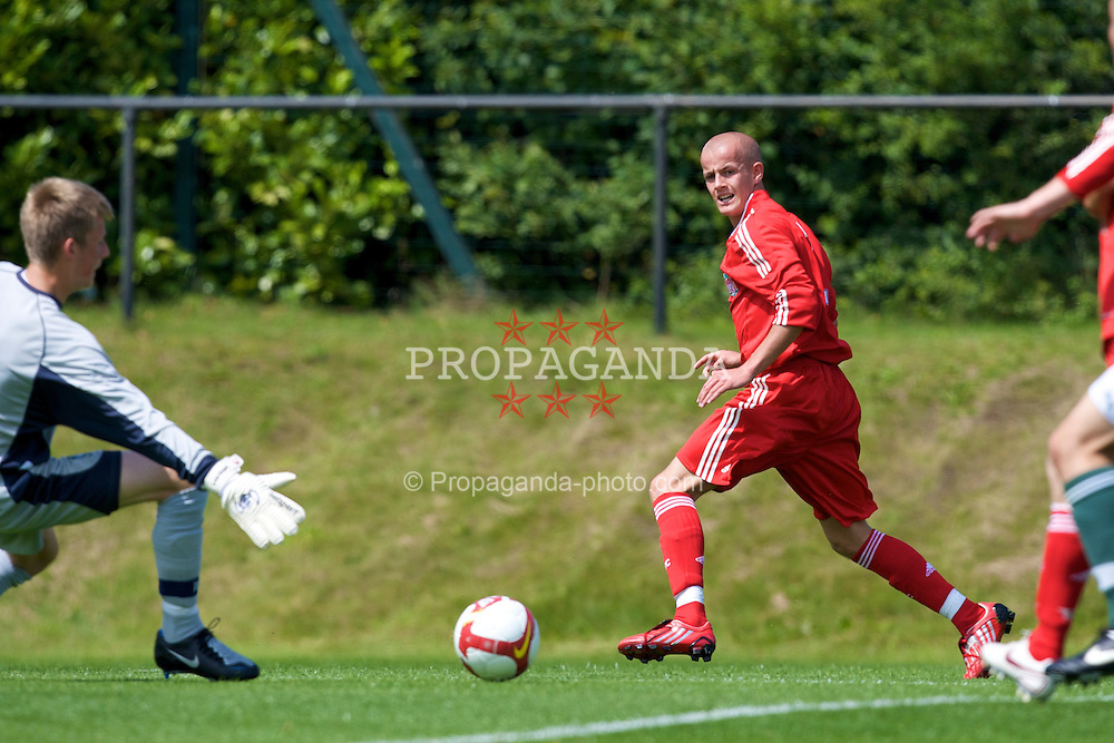 KIRKBY, ENGLAND - Saturday, July 26, 2008: Liverpool's Michael Scott in action against Plymouth Argyle during a pre-season friendly match at the Academy. (Pic by David Rawcliffe/Propaganda)