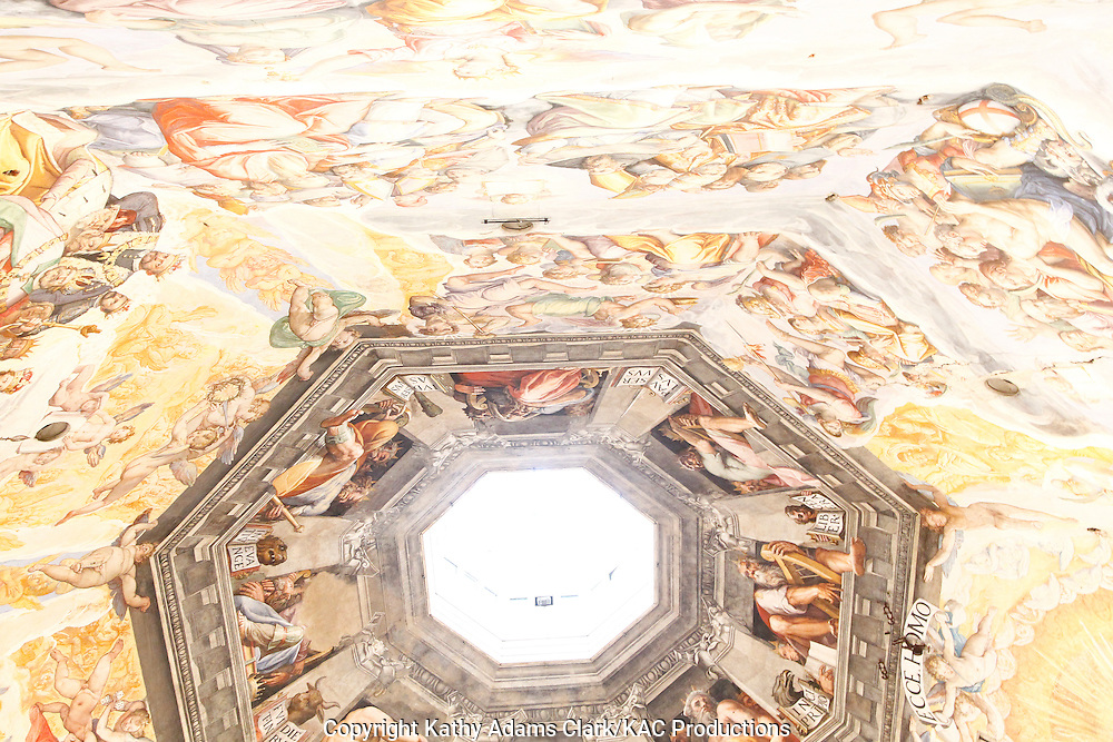 High dynamic range, HDR, Basilica Santa Maria del Fiore, paintings on the dome, Florence, Firenze, Italy.