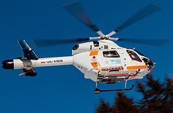THEMENBILD - der Notarzthubschrauber Martin 1 (OE-XMM, MD Helicopters Explorer 902) während eines Rettungseinsatzes am Zwölferkogel in Hinterglemm, Oesterreich, aufgenommen am 28. Maerz 2017 // the Martin 1 (OE-XMM, MD Helicopters Explorer 902) Emergency Medical Helicopter during a emergency operation at the Zwoelferkogel Ski Resort in Hinterglemm, Austria on 2017/03/28. EXPA Pictures © 2017, PhotoCredit: EXPA/ JFK
