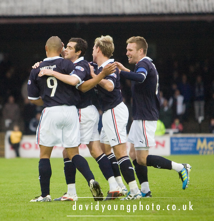 Stephen O'Donnell, Gary irvine and Rhys Weston congratulate Leighton Mcintosh on his goal - Ayr United v Dundee, IRN BRU Scottish Football League First Division at Somerset Park..© David Young.5 Foundry Place.Monifieth.Angus.DD5 4BB.Tel: 07765 252616.email: davidyoungphoto@gmail.com.http://www.davidyoungphoto.co.uk