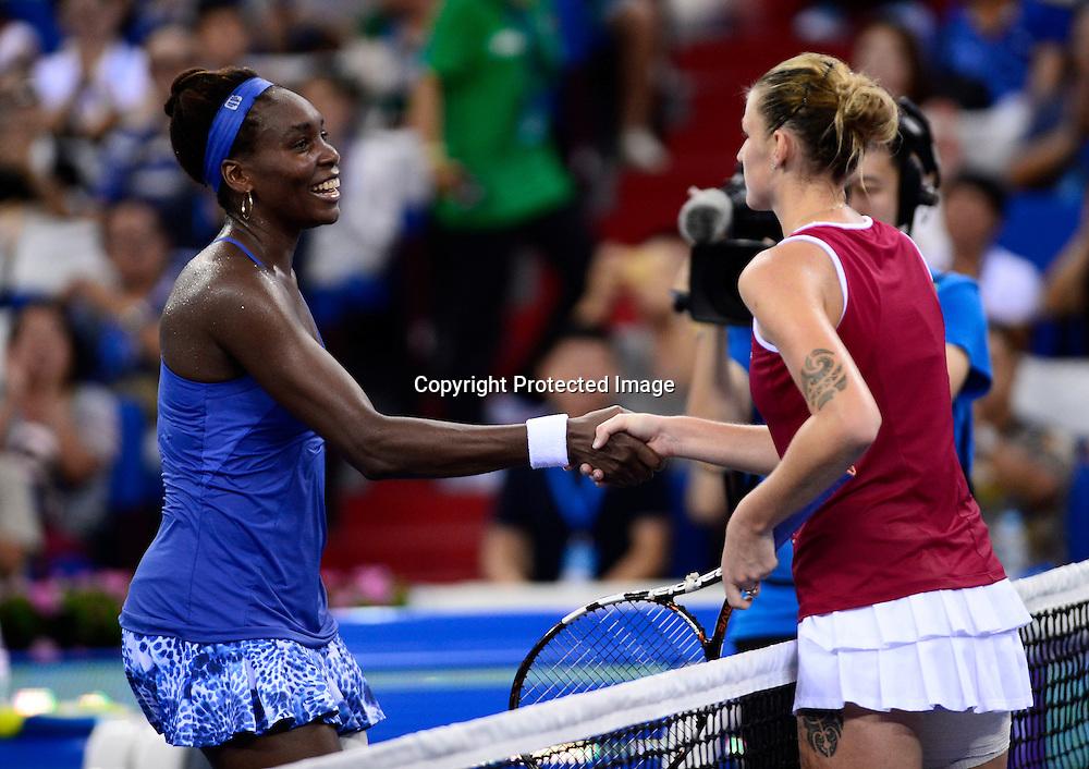 Nov 08, 2015; Zhuhai, CHINA; Venus Williams of USA defeats Karolina Pliskova of Czech Republic during the final of Huajin Securities WTA Elite Trophy Zhuhai at Hengqin Tennis Center.