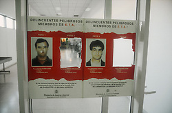 Wanted' poster showing photographs of ETA members,