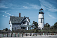 Sandy Neck Lighthouse, as seen from Barnstable Harbour, Cape Cod, Massachusetts