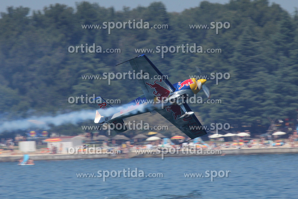 06.06.2015, Porec, CRO, Red Bull Air Race, Porec, Vorberichte, im Bild 06.06.2015, Porec- Red Bull Air Race pilot practicing low flight over the sea. Photo: Robert Mijic/HaloPix/PIXSELL // during the preperation of Red Bull Air Race Championships 2015 in Porec, Croatia on 2015/06/06. EXPA Pictures &copy; 2015, PhotoCredit: EXPA/ Pixsell/ Robert Mijic/HaloPix<br /> <br /> *****ATTENTION - for AUT, SLO, SUI, SWE, ITA, FRA only*****