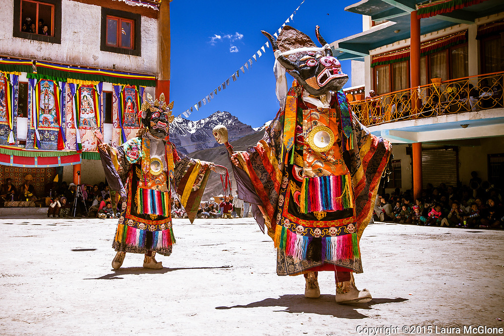 Cham Festival Monk Dancers at Kye Monastery in Spiti Valley, Himachal Pradesh, India