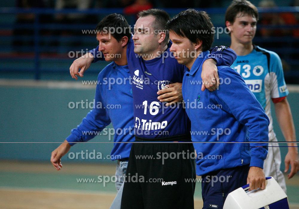 Goalkeeper of Trimo Trebnje Bostjan Makovec injured at  handball game between RD Knauf Insulation and RK Trimo Trebnje, on September 22, 2008, in Arena Poden, Skofja Loka, Slovenija. (Photo by Vid Ponikvar / Sportal Images)
