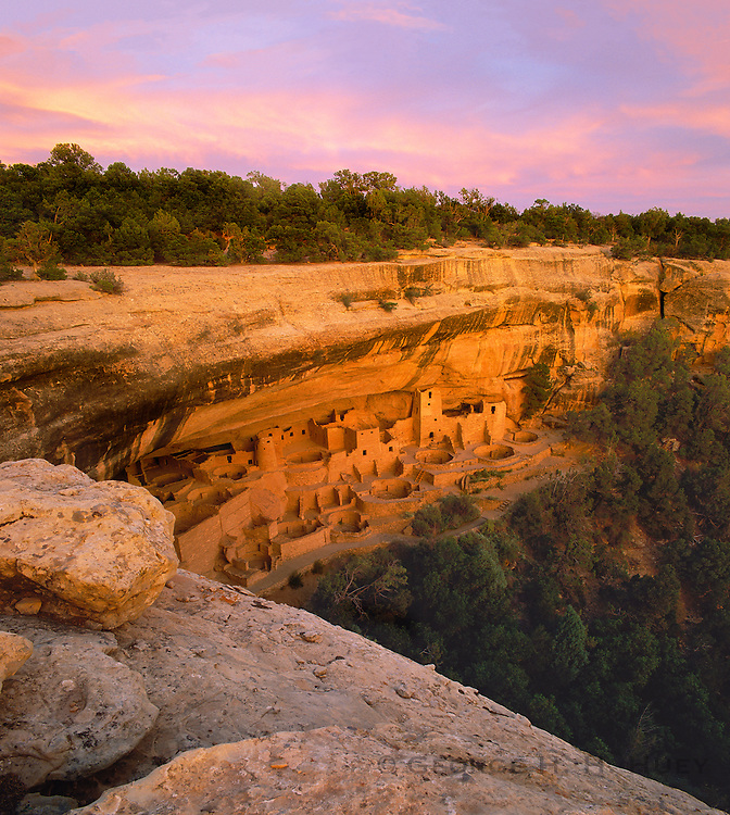 0405-1076LVT ~ Copyright: George H. H. Huey ~ Cliff Palace at dusk. This Anasazi pueblo ruin is the largest cliff dwelling in North America with 217 rooms and 23 kivas. Mesa Verde National Park, Colorado.