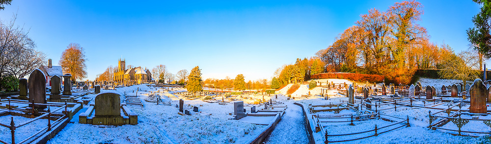 View overlooking St. Mark's Church and graveyard in Armagh in the snow.<br />