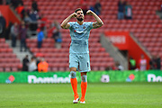 Olivier Giroud (18) of Chelsea celebrates the 3-0 win over Southampton at full time during the Premier League match between Southampton and Chelsea at the St Mary's Stadium, Southampton, England on 7 October 2018.