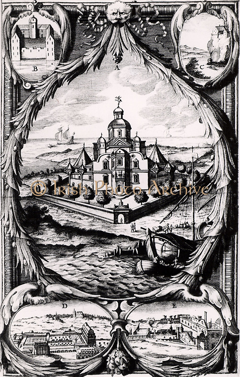 Uraniborg, Tycho's observatory on the island of Hven, Denmark, centre.  Bottom left is the Emperor Ferdinand I's villa at Prague whereTycho made observations during 1600 and 1601. Tycho Brahe (Tyge Ottesen Brahe - 1546-1601) Danish astronomer, astrologer and alchemist  who built astronomical instruments which enabled him to make the most accurate observations of his time.  Engraving from 'Historia Coelestis' by Tycho Brahe, 1666.