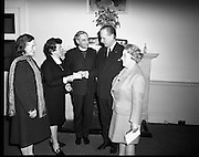 Cheque to aid Northern homeless..1971..26.03.1971..03.26.1971..26th March 1971..At a function held in the RDS, Mr Daithi P Hanly, Chairman,Dublin Housing Aid Society,handed over a cheque to Mrs Jane Murphy, Chairman,Belfast Housing Aid Society, to help the homeless in Belfast..Pictured at the handing over of the cheque to help the Belfast Homeless were, Mrs Audrey Buchanan, Mrs Jane Murphy, Dr Alan Buchanan,Archbishop of Dublin,Mr Daithi P Hanly and Lady Wicklow.