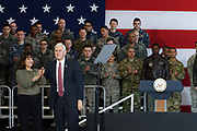 US Vice President Mike Pence (R) and his wife Karen (L) gesture to US troops at Yokota Air Base in Tokyo, Japan, 08 February 2018. Pence is in Japan before heading to South Korea for the Winter Olympics. 08/02/2018-Fussa, JAPAN