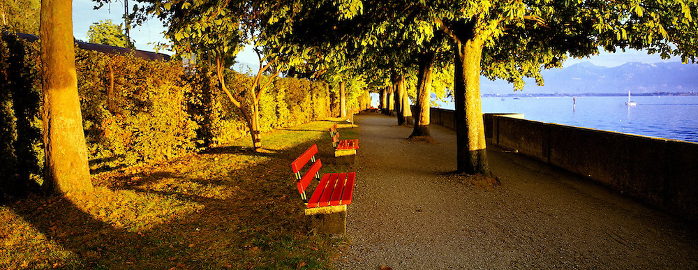 Red Bench at Sunset, Lindau, Germay