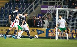 Falkirk's David McCracken scoring their goal.<br /> Falkirk 1 v 0 Hibernian, Scottish Championship game played 6/12/2014 at The Falkirk Stadium .