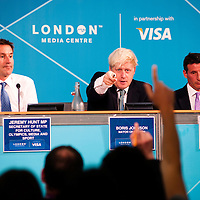 London, UK - 13 August 2012: Boris Johnson addresses a journalist during the final press conference of the Olympic Games to discuss the success of London 2012.