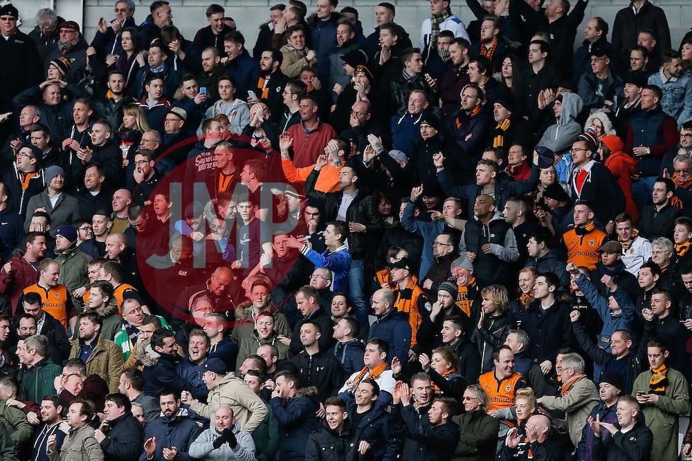Wolverhampton Wanderers fans celebrate after Bakary Sako scores a goal to make it 0-1 - Photo mandatory by-line: Rogan Thomson/JMP - 07966 386802 - 28/02/2015 - SPORT - FOOTBALL - Cardiff, Wales - Cardiff City Stadium - Cardiff City v Wolverhampton Wanderers - Sky Bet Championship.