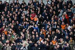 Wolverhampton Wanderers fans celebrate after Bakary Sako scores a goal to make it 0-1 - Photo mandatory by-line: Rogan Thomson/JMP - 07966 386802 - 28/02/2015 - SPORT - FOOTBALL - Cardiff, Wales - Cardiff City Stadium - Cardiff City v Wolverhampton Wanderers - Sky Bet Championship.