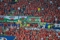 """LYON, FRANCE - Wednesday, July 6, 2016: Wales supporters with banners """"Buckley Wrexham loyal"""" """"Cardiff City pride of Wales"""" and """"Feyenoord Rotterdam stronger through struggle"""" during the UEFA Euro 2016 Championship Semi-Final match against Portugal at the Stade de Lyon. (Pic by Paul Greenwood/Propaganda)"""