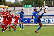 AFC Wimbledon attacker Michael Folivi (17) trying to control the ball during the EFL Sky Bet League 1 match between AFC Wimbledon and Accrington Stanley at the Cherry Red Records Stadium, Kingston, England on 17 August 2019.