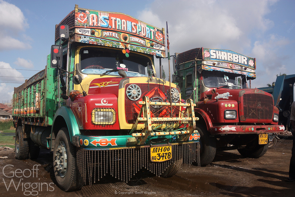 Indian Tata construction trucks on Maharashtra parking lot