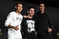Zurich (Svizzera) 11/01/2016 - Fifa Ballon d'Or 2015 Pallone d'Oro / foto Matteo Gribaudi/Image Sport/Insidefoto<br /> nella foto: Lionel Messi-Cristiano Ronaldo-Neymar