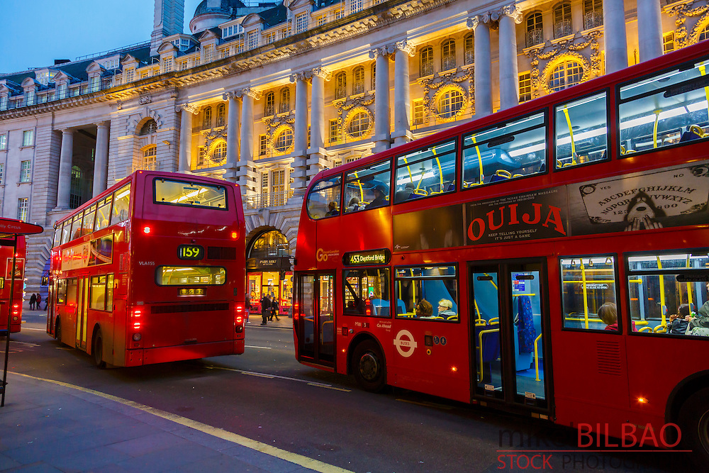 Traditional red bus and Picadilly street. London, England, United kingdom, Europe.