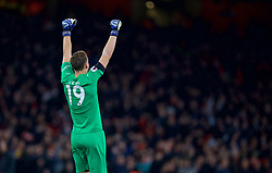 LONDON, ENGLAND - Saturday, November 3, 2018: Arsenal's goalkeeper Bernd Leno celebrates his side's equalising goal during the FA Premier League match between Arsenal FC and Liverpool FC at Emirates Stadium. (Pic by David Rawcliffe/Propaganda)