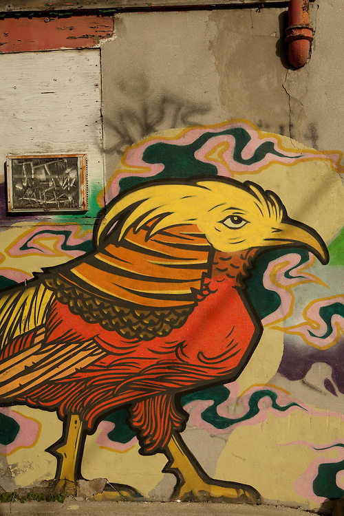 A mural of a rooster on a wall in Toronto's Queen Street West nighborhood.