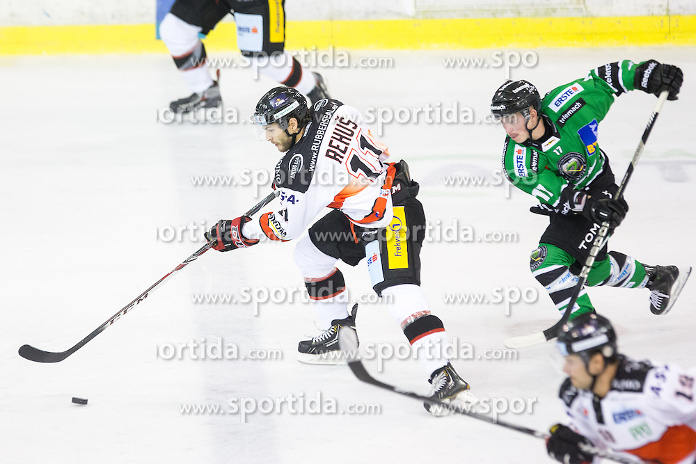 19.09.2014, Hala Tivoli, Ljubljana, SLO, EBEL, HDD Telemach Olimpija Ljubljana vs HC Znojmo Orli, 3. Runde, in picture Branislav Rehus (HC Znojmo Orli,#11) vs Miha Logar (HDD Telemach Olimpija, #17) celebrates after scoring a goal during the Erste Bank Icehockey League 3. Round between HDD Telemach Olimpija Ljubljana and HC Znojmo Orli at the Hala Tivoli, Ljubljana, Slovenia on 2014/09/19. Photo by Matic Klansek Velej / Sportida