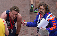 Olympic rower James Cracknell after crossing the line on The Mall to complete her final marathon at the Virgin Money  London Marathon, Sunday 26th April 2015.<br /> <br /> Dillon Bryden for Virgin Money London Marathon<br /> <br /> For more information please contact Penny Dain at pennyd@london-marathon.co.uk