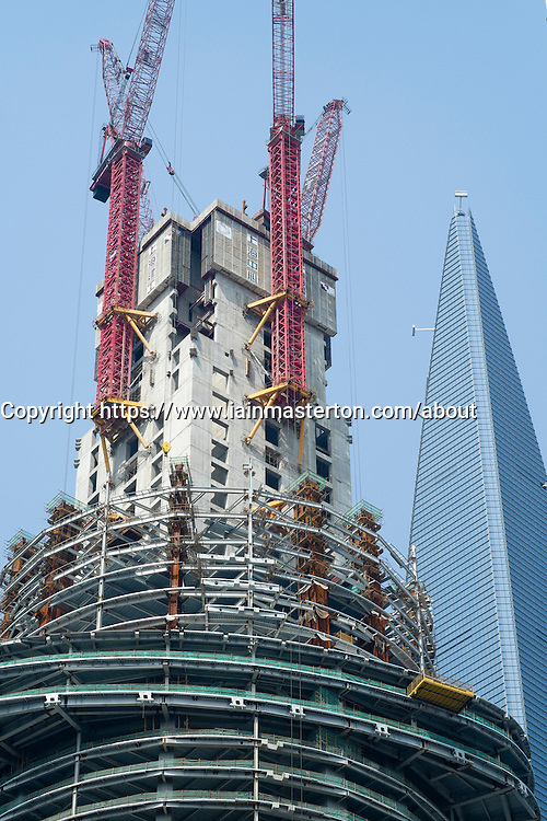 Construction of Shanghai Tower  in Lujiazui financial district in Shanghai China