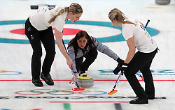 Great Britain's (left-right) Lauren Gray, skipper Eve Muirhead and Vicki Adams during the Women's Semi-Final against Sweden at the Gangneung Curling Centre during day fourteen of the PyeongChang 2018 Winter Olympic Games in South Korea.