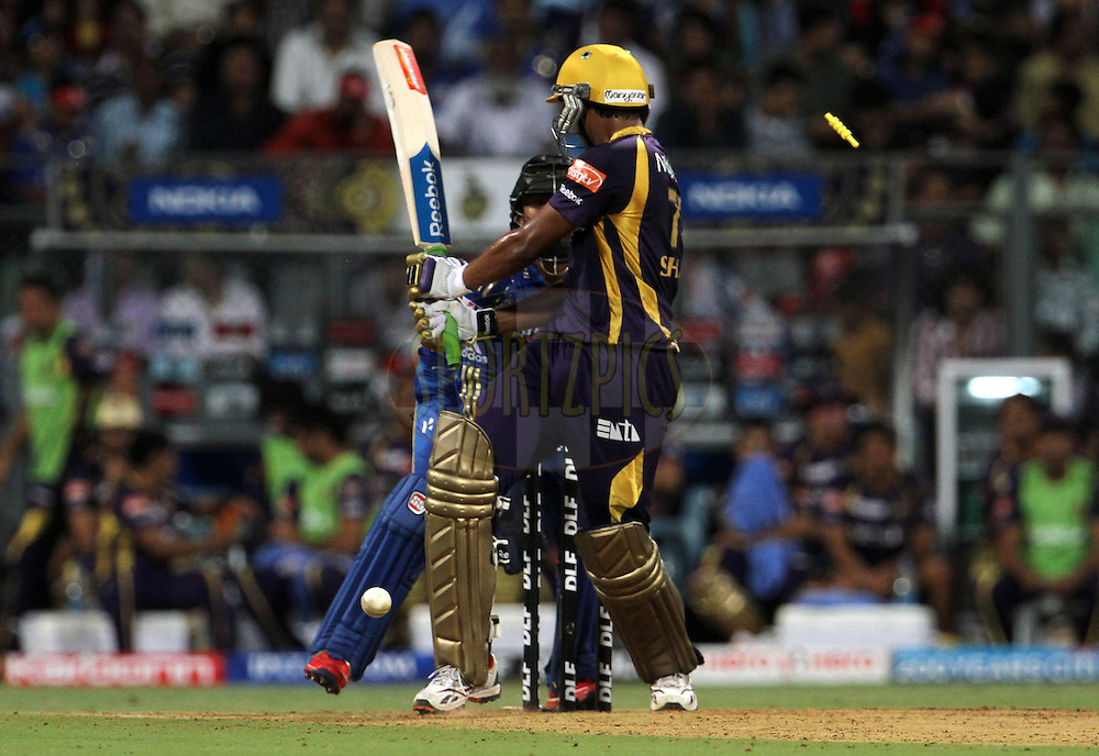 Kolkatta Knight Riders player Shakib Al Hasan gets bowled during match 65 of the Indian Premier League ( IPL) 2012  between The Mumbai Indians and the Kolkata Knight Riders held at the Wankhede Stadium in Mumbai on the 16th May 2012..Photo by Vipin Pawar/IPL/SPORTZPICS.